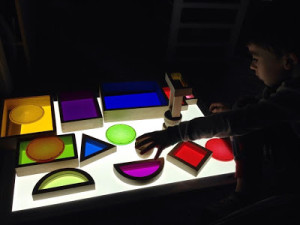 Educational color and light play with the LightPad 950. Photo courtesy of Epic Childhood.