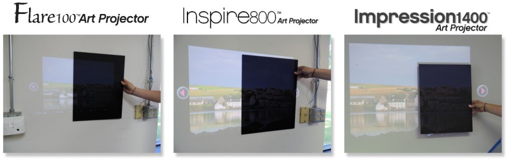 Flare100 - Inspire800 - Impression1400 Projected over Black