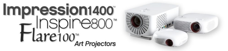 Flare100 - Inspire800 - Impression1400 LED digital Art Projectors from Artograph