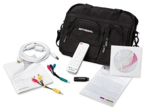 Included accessories: storage bag, HDMI cable, composite connectors, component connectors, USB SD card reader, remote (with 2 AAA batteries included), QuickStart Guide, English Owner's Manual, multi-language CD manual