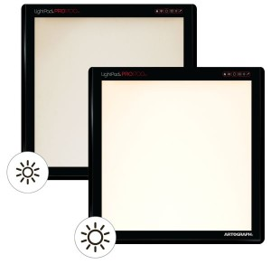 LightPad PRO with variable brightness from 500 to 5500 lux with color temp control - here show with warm color temp.