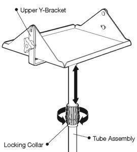 Mobile Floor Stand locking collar and tube assembly